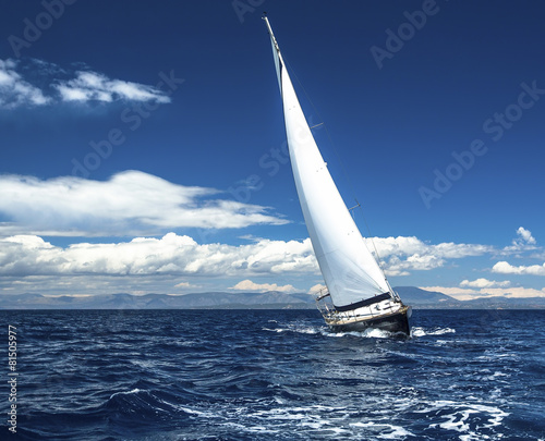 Sailing yacht race, picture with space for logos. - 81505977