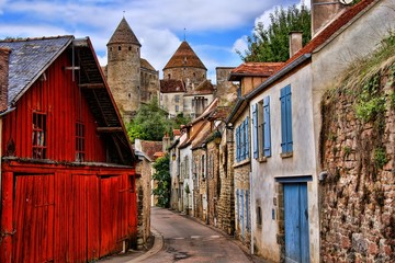 Old lane with medieval towers, Semur en Auxois, France