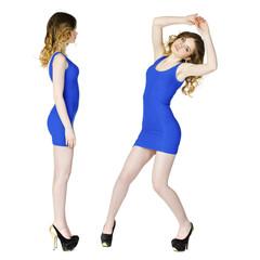 Model tests, Young blonde models in blue dress