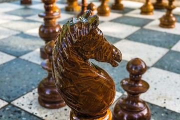 Outdoor wooden chess