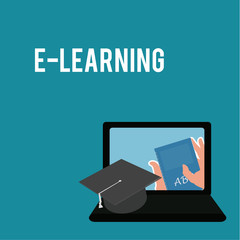 E-learning,mortarboard and  laptop over blue color background