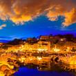 Leinwanddruck Bild - Port de Soller sunset in Majorca at Balearic island
