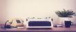 Leinwanddruck Bild - Vintage typewriter and phone office