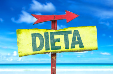 Diet (in Portuguese) sign with beach background