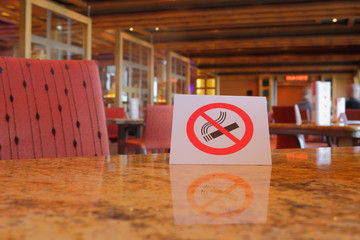 """Cafe table with plate """"no smoking"""""""
