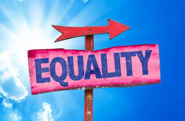 Equality sign with sky background