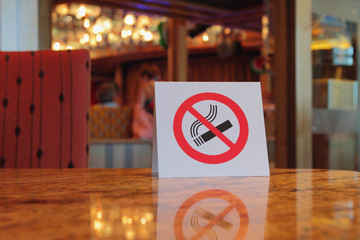 """Plate """"no smoking"""", table in cafe"""