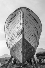 Old Wooden Boat Bow Close-up