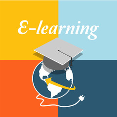 E-learning, mortarboard and world  over  color background