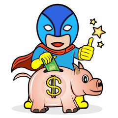 An illustration of superhero saving the money