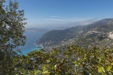 Elevated view along the Cote d'Azur towards Saint-Jean-Cap-Ferra