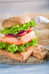 Homemade sandwich with fish and vegetables