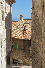 Quiet street in the walled Eze Village in France