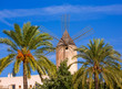 Leinwandbild Motiv Palma de Majorca windmills wind mill in Mallorca