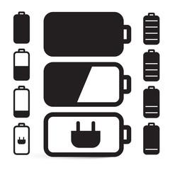 Flat Design Black Battery Life Vector Icons Set