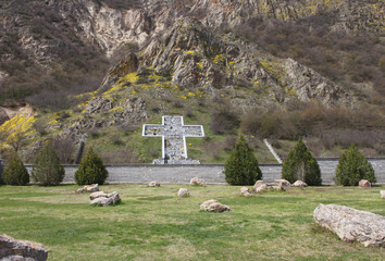 Village of Rupite and its big cross in the mountains, Bulgaria