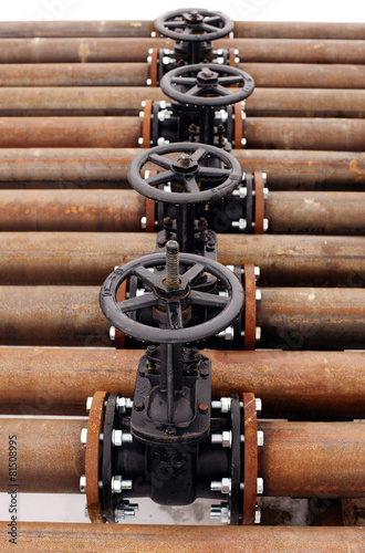 Oil and gas pipeline valves on a piping - 81508995