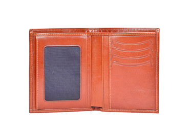 Brown leathter wallet isolated on white