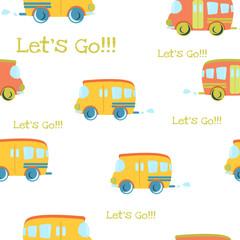 Seamless pattern Cartoon bus on the road