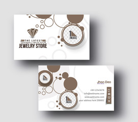 Jewelry Shop Business Card Vector Template.