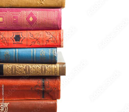 Leinwanddruck Bild Stack of books on white background