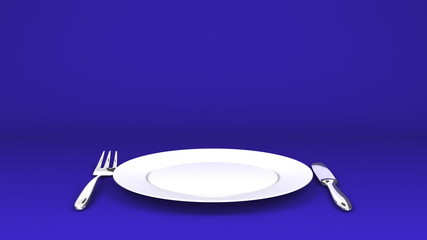 Cutlery And Dish On Blue Text Space
