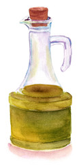 Watercolour drawing of bottle of olive oil on white background