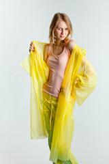 girl in a raincoat