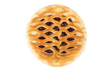 Round cherry pie on white background, top view