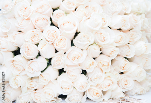 Fotobehang Rozen Roses, white. Background, luxury bouquet