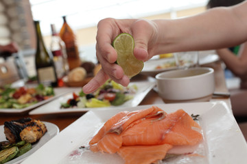 Raw fish with lime