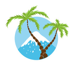 mountain top and palm tree, vector logo