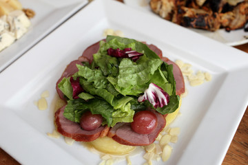 Salad with ham and lettuce