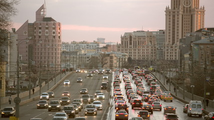 the life of a big city, the traffic jam on the bridge