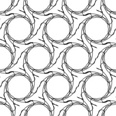 Black and white geometric seamless pattern with tangle line.