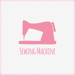Vector illustration. Hand-drawn sewing machine
