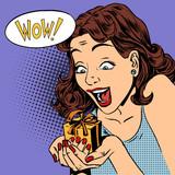 Fototapety woman glad gift wow pop art comics retro style Halftone