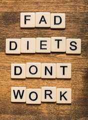 Fad. Fad Diets Don't Work card isolated on white background