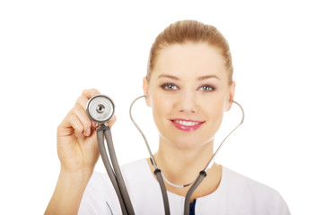Medical doctor woman with stethoscope.