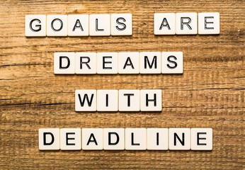 Act. Goals Are Dreams With Deadline card with sky background