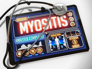 Myositis on the Display of Medical Tablet.