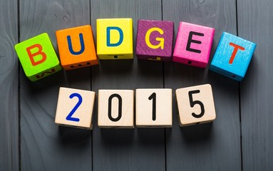 Budget. Budget for 2015 wooden, blocks on a wooden background