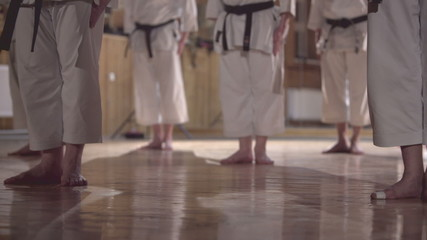 group of people practicing karate kata,dolly shot
