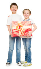 boy and girl with gift box