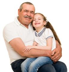 Grandfather and grandchildren portrait