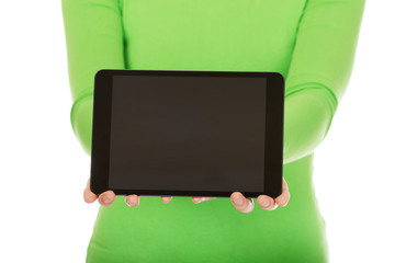 Woman showing a tablet.