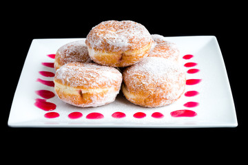Doughnuts On White Plate.