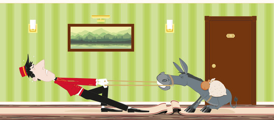 stubborn donkey and a porter