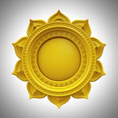 yellow Manipura solar plexus chakra, abstract esoteric symbol