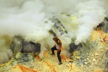 Sulphur mines Kawah Ijen in East Java, Indonesia